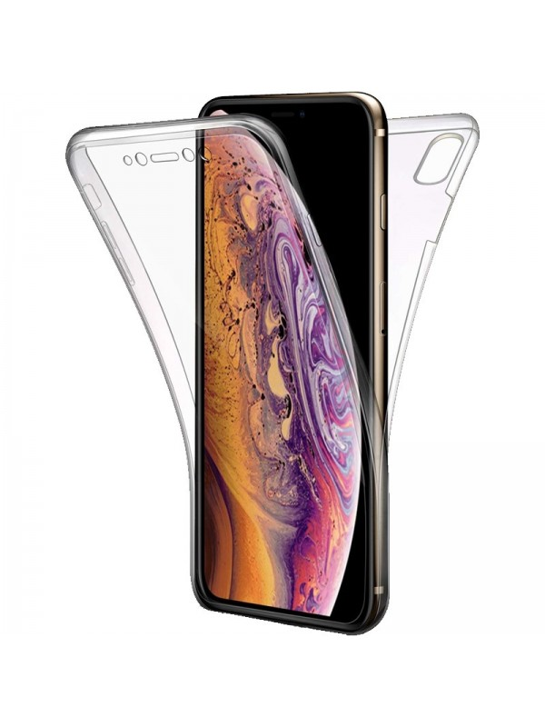 Husa slicon 360 fata+spate iPhone XS , Transparent