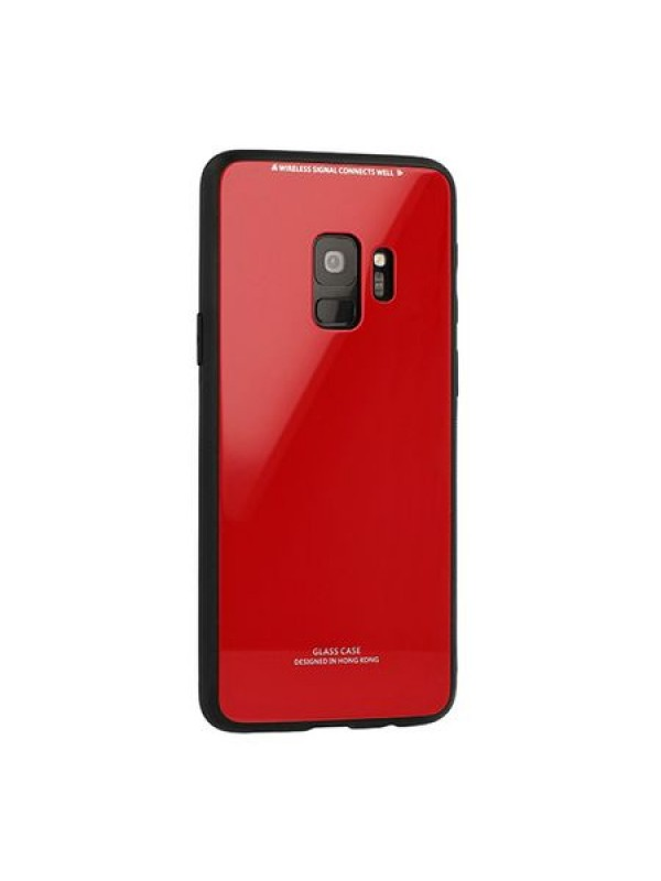 Husa Glass Case -Samsung A6 Plus (2018), Rosu