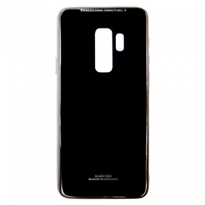 Husa Glass Case -Samsung A6 Plus (2018), Negru