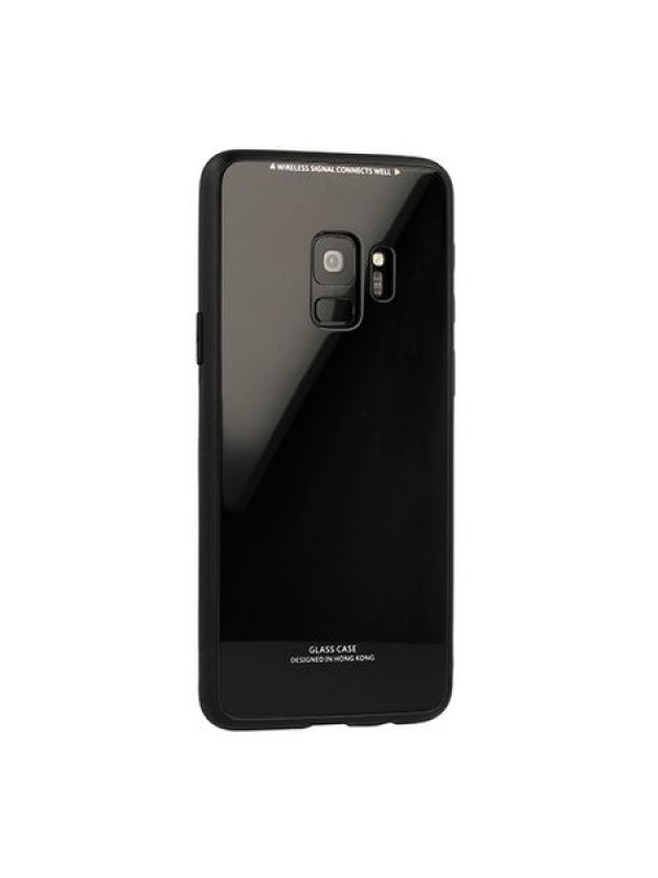 Husa Glass Case - Samsung J4 Plus, Negru