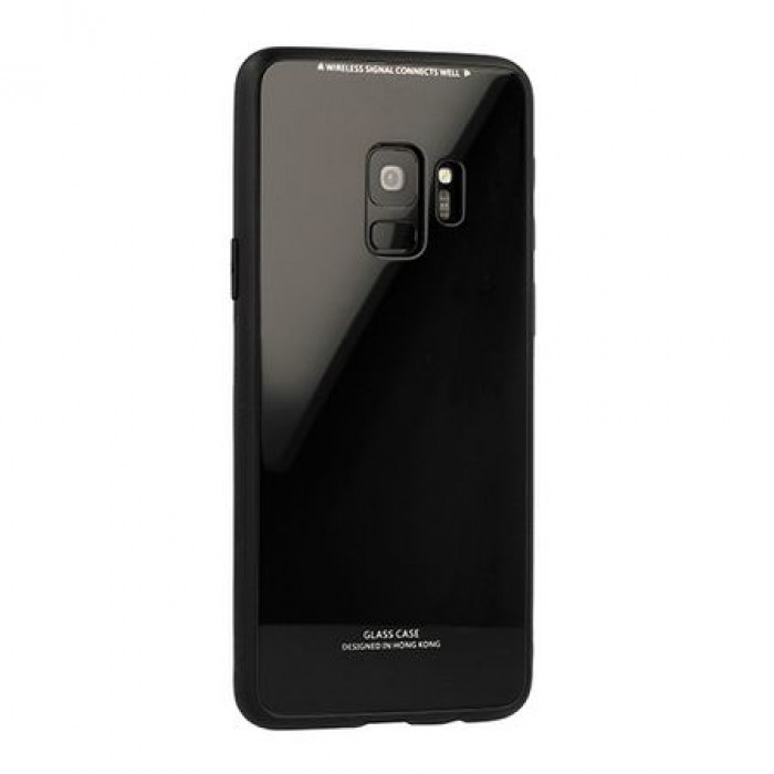 Husa Glass Case - Samsung J6 Plus (2018), Negru