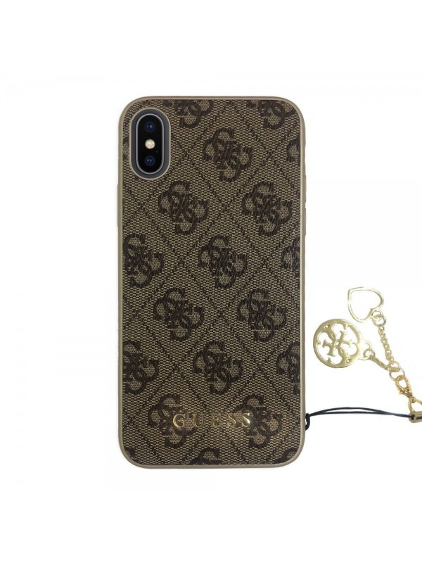 Husa de protectie, Guess 4G Charms Collection, iPhone XS Max, Maro