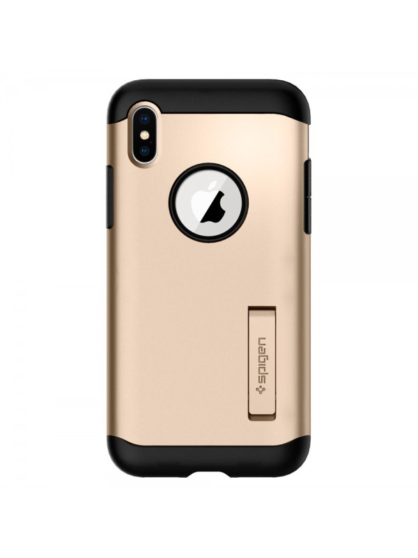 Husa iPhone X, Spigen Slim Armor Air Cushion, Auriu