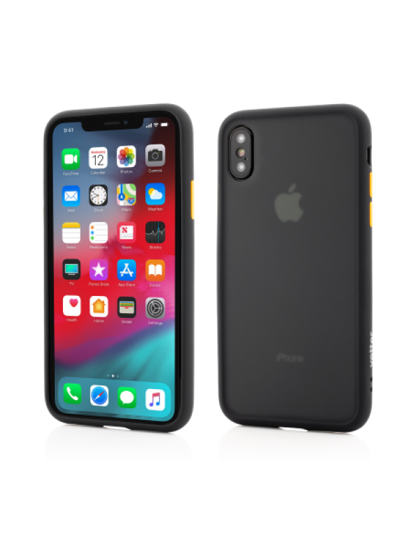 Husa Vetter iPhone Xs, X Clip-On Hybrid Protection Shockproof Soft Edge and Rigid Matte Back Cover Negru