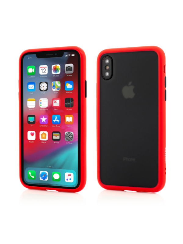 Husa Vetter iPhone Xs, X Clip-On Hybrid Protection Shockproof Soft Edge and Rigid Matte Back Cover Rosu