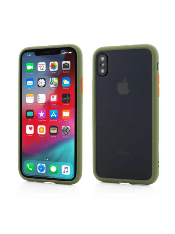 Husa Vetter iPhone Xs Max Clip-On Hybrid Protection Shockproof Soft Edge and Rigid Matte Back Cover Olive