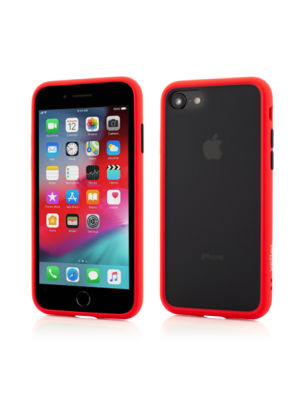 Husa Vetter iPhone 8, 7 Clip-On Hybrid Protection Shockproof Soft Edge and Rigid Matte Back Cover Rosu