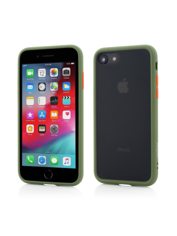 Husa Vetter iPhone 8, 7 Clip-On Hybrid Protection Shockproof Soft Edge and Rigid Matte Back Cover Olive