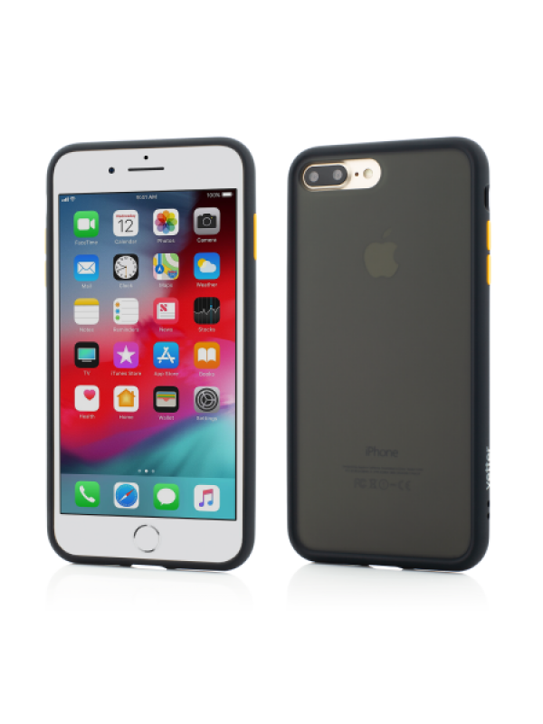 Husa Vetter iPhone 8 Plus, 7 Plus Clip-On Hybrid Protection Shockproof Soft Edge and Rigid Matte Back Cover Negru