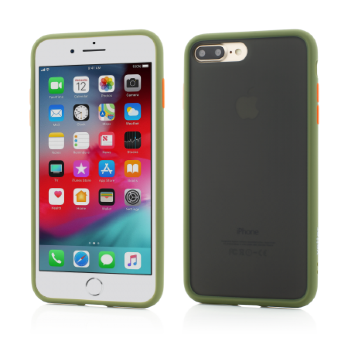 Husa Vetter iPhone 8 Plus, 7 Plus Clip-On Hybrid Protection Shockproof Soft Edge and Rigid Matte Back Cover Olive