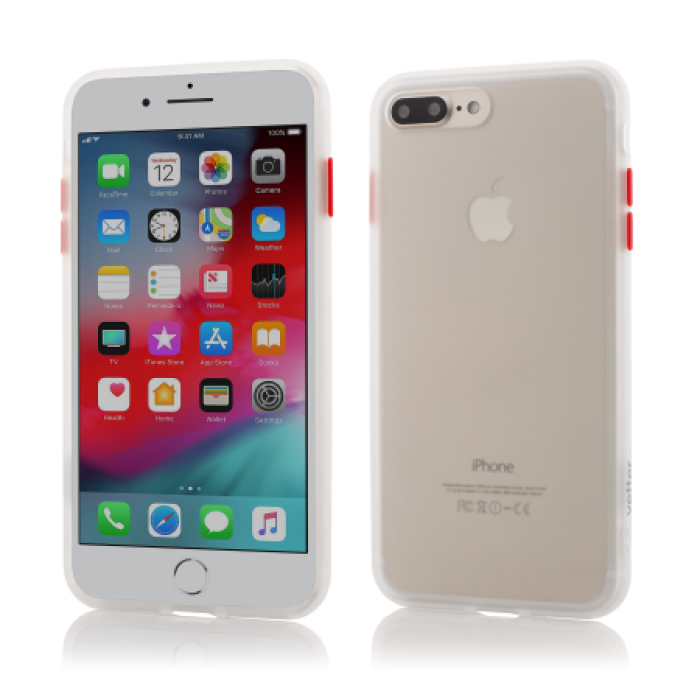 Husa Vetter iPhone 8 Plus, 7 Plus, Clip-On Hybrid Protection Shockproof Soft Edge and Rigid Matte Back Cover Transparenta