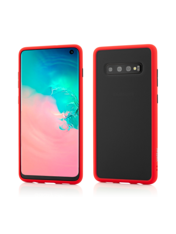 Husa Vetter Samsung Galaxy S10 Clip-On Hybrid Protection Shockproof Soft Edge and Rigid Matte Back Cover Rosu
