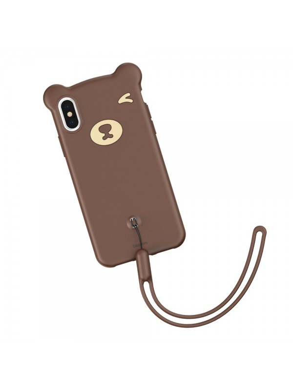 Husa de protectie, Baseus Bear, Flexible Gel Cover, iPhone X/XS, Maro