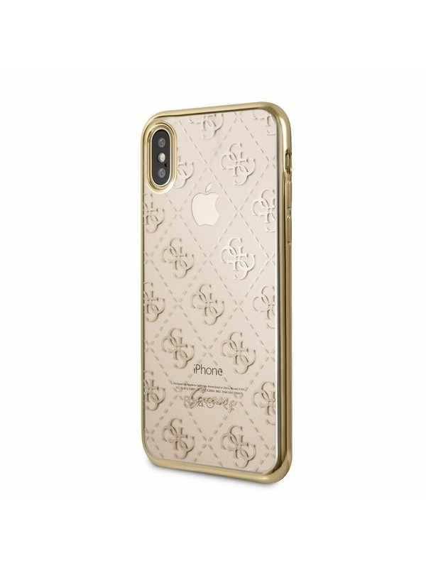 Husa de protectie, Guess, iPhone X/XS, Auriu/Transparent