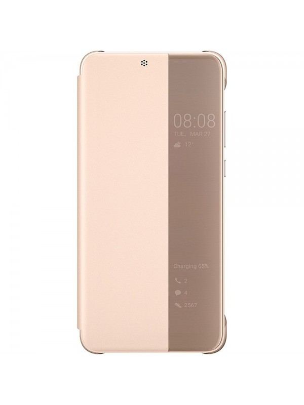 Husa Huawei P20 Originala, Smart View Flip Cover, Roz