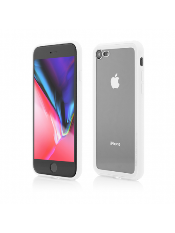 Husa Vetter iPhone 8, 7 Clip-On Hybrid Soft Edge with Clear Back Glass Alb