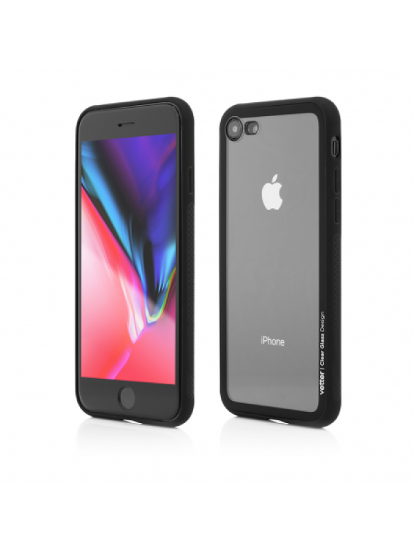 Husa Vetter iPhone 8, 7 Clip-On Hybrid Soft Edge with Clear Back Glass Negru