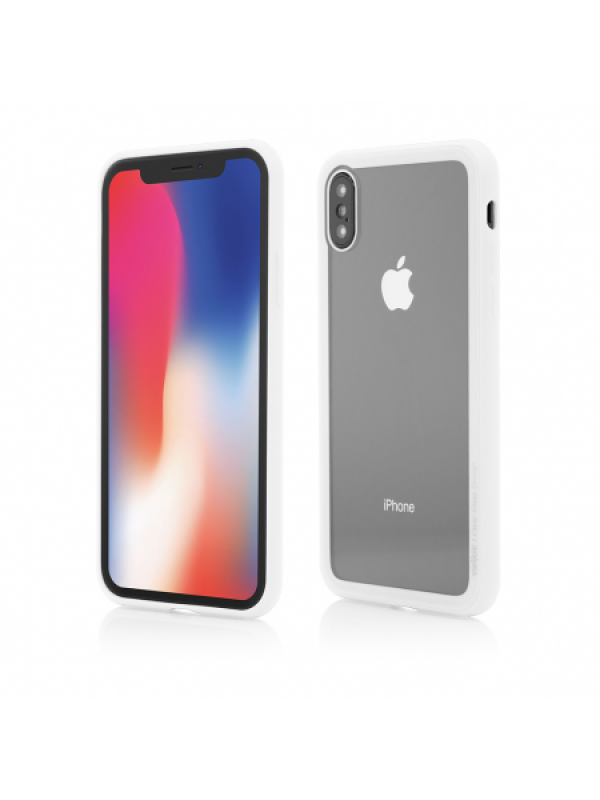 Husa Vetter iPhone X Clip-On Hybrid Soft Edge with Clear Back Glass Alb