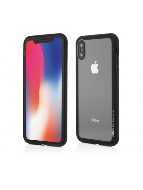 Husa Vetter iPhone X Clip-On Hybrid Soft Edge with Clear Back Glass Negru
