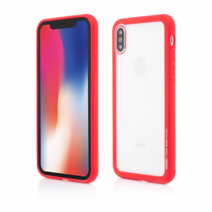 Husa Vetter iPhone X Clip-On Hybrid Soft Edge with Clear Back Glass Rosu