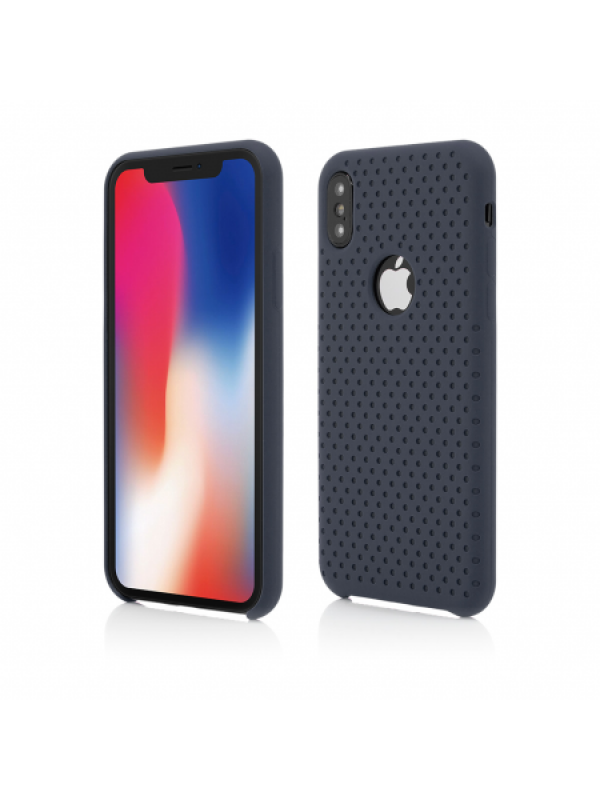 Husa Vetter iPhone XS, X Clip-On Silk Dot Design Albastru