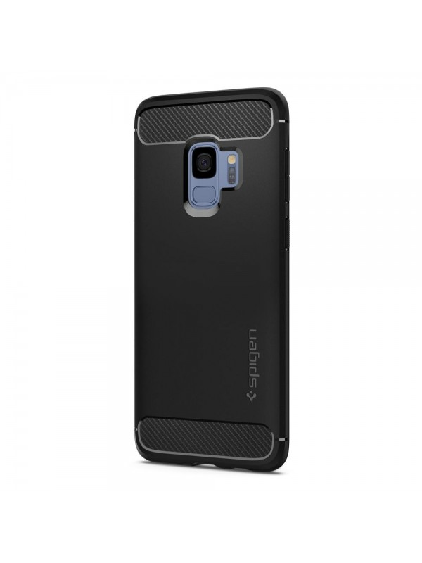 Husa Samsung Galaxy S9, Spigen Rugged Armor Air Cushion, Negru