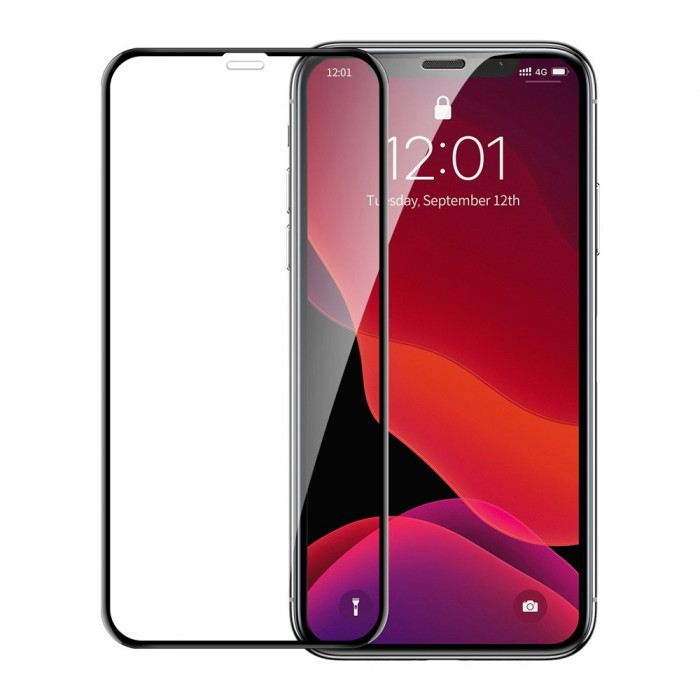 Folie Sticla Baseus, Curved-Screen Crack Resistant, iPhone XR/11, Negru/Transparent