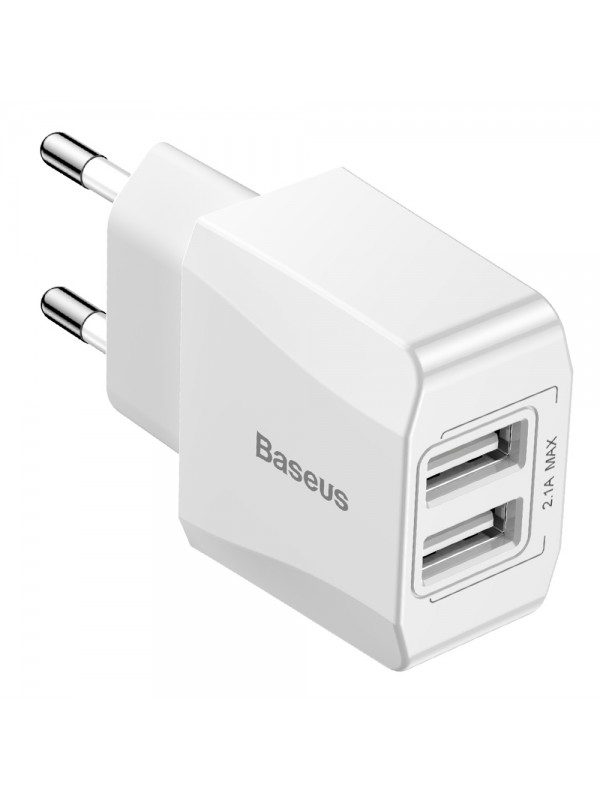 Adaptor priza World Travel, Baseus, 2 x USB, Alb