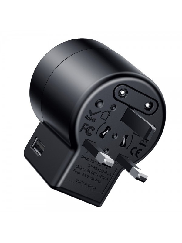 Adaptor priza Baseus, Rotation Type Travel EU/UK/USA, 2 x USB, Negru