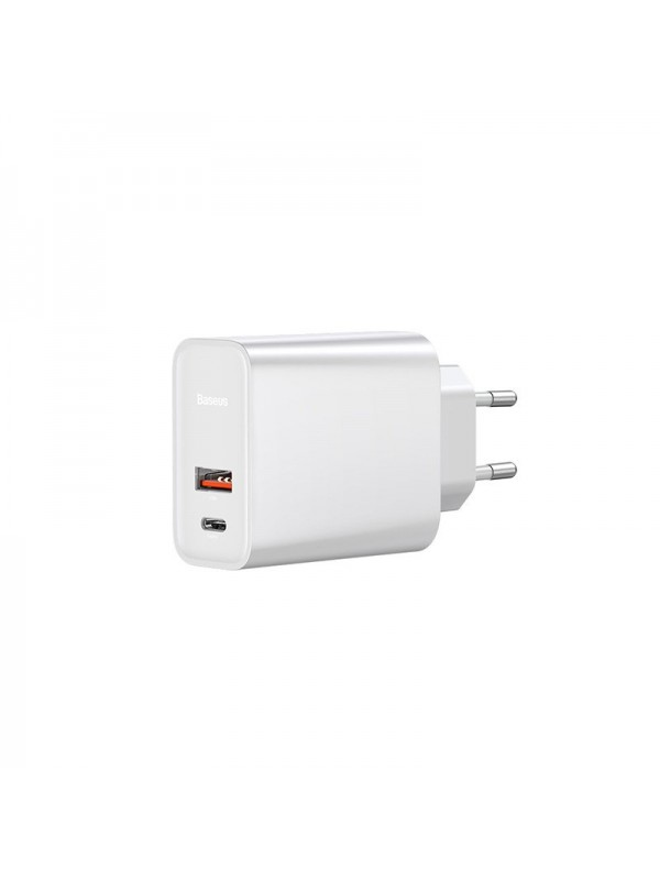 Adaptor priza Baseus, Speed PPS Quick charge, USB / USB-C, Alb