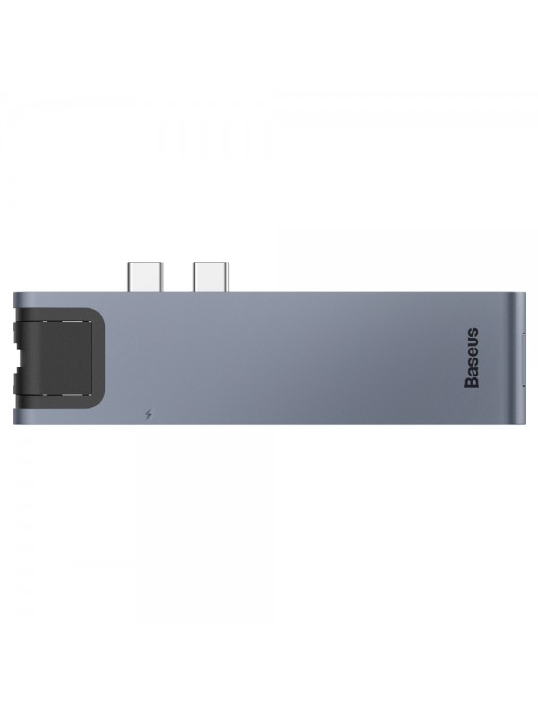 HUB Baseus Thunderbolt, Apple Macbook, 7 in 1, 2 x USB/USB-C/HDMI/SD/MicroSD, Argintiu