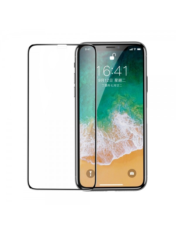 Folie Sticla Tempered Glass 9H, iPhone X/XS, Negru