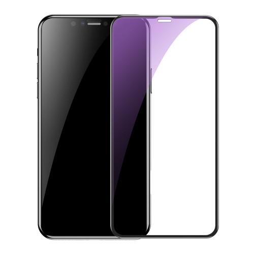 Folie Sticla Baseus, 2 x Tempered Glass 9H, iPhone XR/11, Anti-Blue Light, Negru