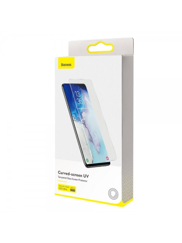 Folie Sticla Baseus, 2 x Folii UV  Full Screen Tempered Glass, Samsung Galaxy S20 Ultra, Transparent