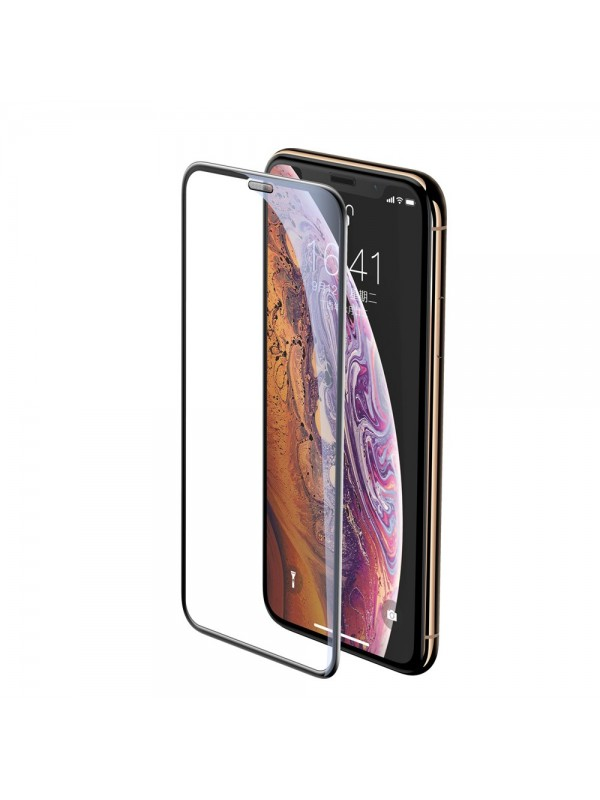 Folie Sticla Tempered Glass 9H, iPhone XS, Speaker Dust Protector, Baseus, Negru