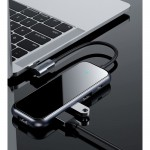 HUB Baseus Multifunctional, Apple Macbook, Type C + 4 x USB 2.0, Gri