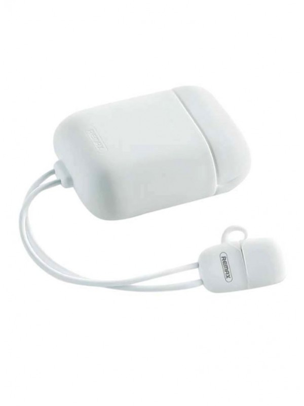 Husa AirPods 1/2 Remax, Silica Gel Protector, Cablu Lightning, Alb
