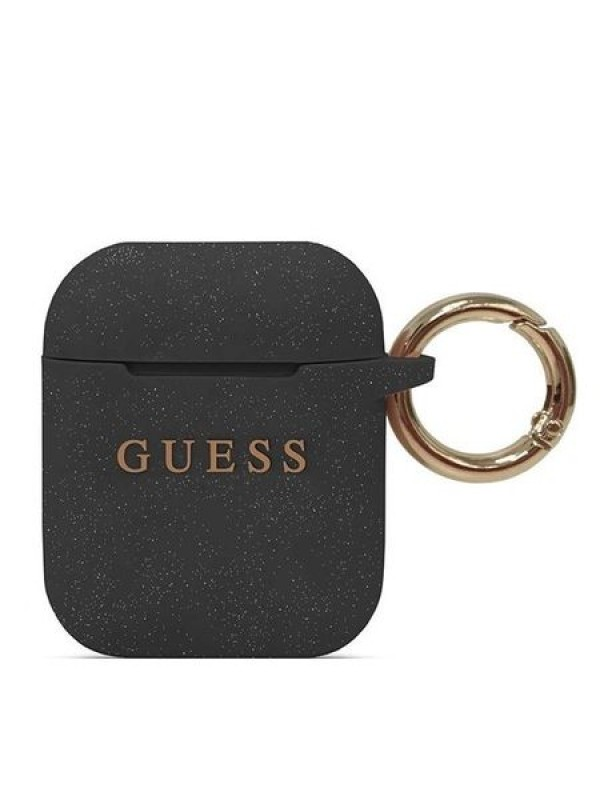 Husa Protectie Guess, AirPods Silicone Case, Negru