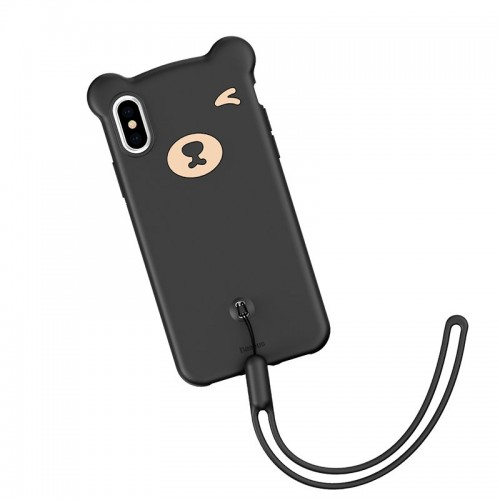 Husa de protectie Baseus, Bear Flexible Gel Cover, iPhone X/XS, Negru