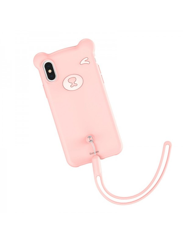 Husa de protectie, Baseus Bear, Flexible Gel Cover, iPhone XS, Roz