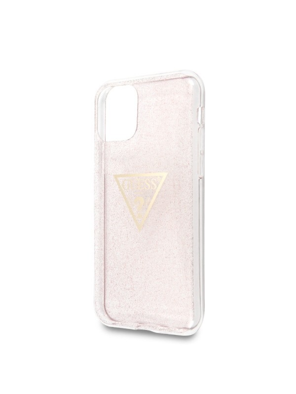 Husa de protectie, Guess Glitter Triangle, iPhone 11, Roz/Transparent