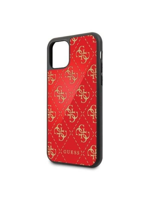 Husa de protectie, Guess 4G Glitter Double Layer, iPhone 11, Rosu