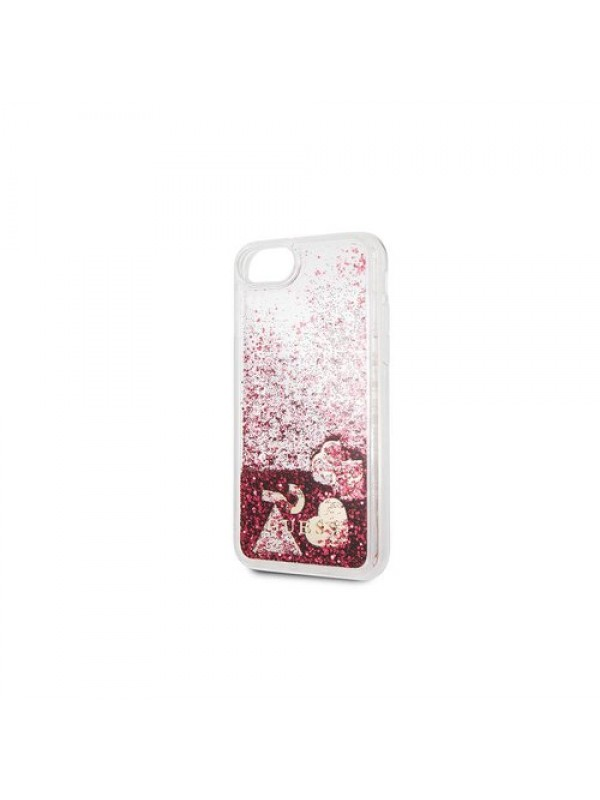 Husa de protectie, Guess Glitter Hearts, iPhone 7/8/SE 2, Transparent/Rosu