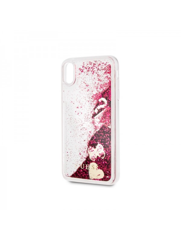 Husa de protectie, Guess Hearts, iPhone XS Max, Transparent/Rosu