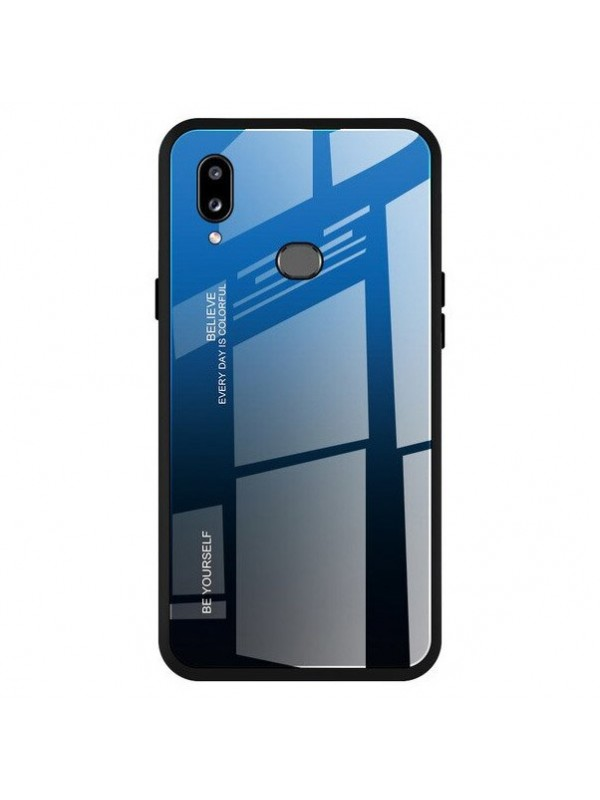 Husa Gradient Glass, Samsung Galaxy A20e, Tempered Glass, Negru/Albastru