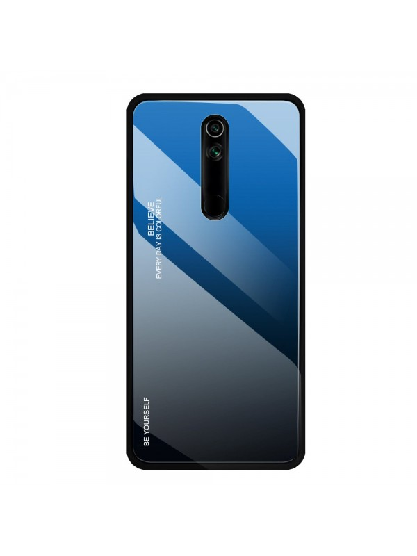 Husa Gradient Glass, Huawei Mate 20 Lite, Tempered Glass, Negru/Albastru