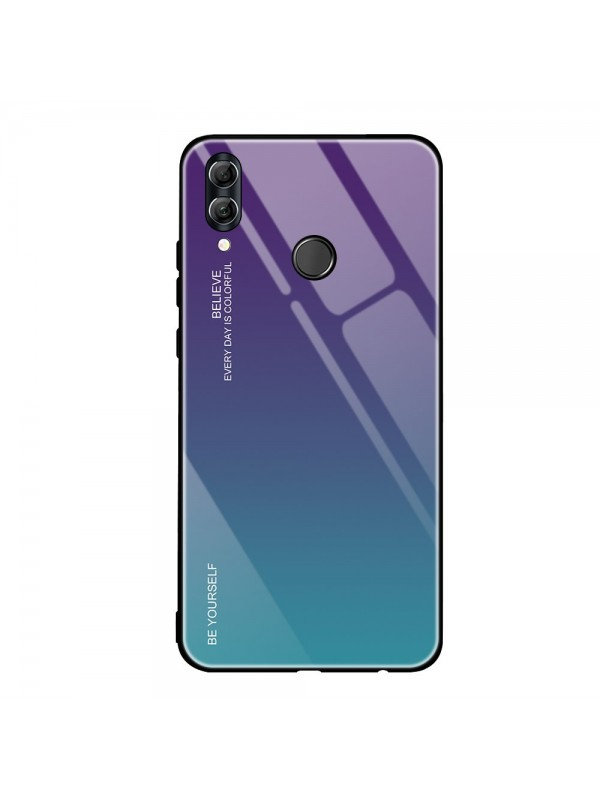 Husa Gradient Glass, Huawei P20 Lite, Tempered Glass, Albastru/Mov