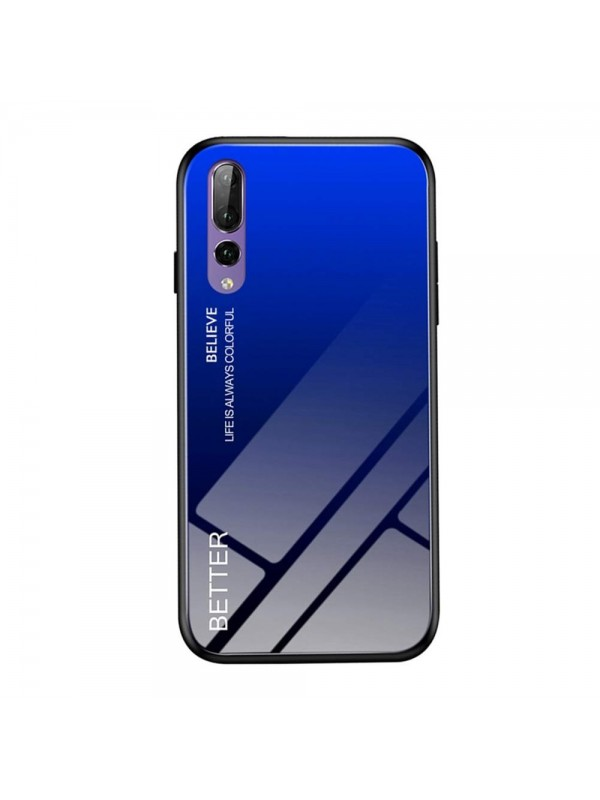 Husa Gradient Glass, Huawei P20 Pro, Tempered Glass, Negru/Albastru