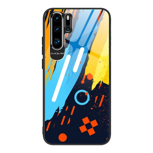 Husa de protectie, Color Tempered Glass Pattern 1, Huawei P30 Pro, Multicolor