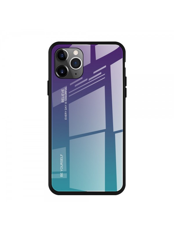 Husa Gradient Glass, iPhone 11 Pro, Tempered Glass, Verde/Mov